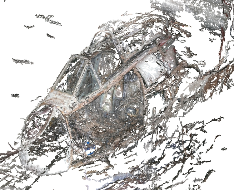 Dense point cloud reconstruction of A79-733's fuselage using VSFM and CMVS
